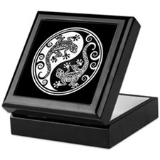 White and Black Yin Yang Geckos Keepsake Box
