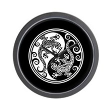 White and Black Yin Yang Geckos Wall Clock