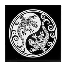 White and Black Yin Yang Geckos Tile Coaster