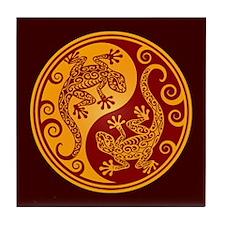 Red and Yellow Yin Yang Geckos Tile Coaster