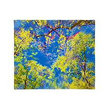 Spring Is Here Air Brushed Tree Leaves Throw Blank