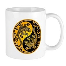 Yellow and Black Yin Yang Geckos Mugs