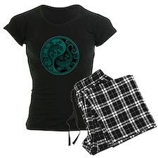 Teal Blue and Black Yin Yang Geckos pajamas