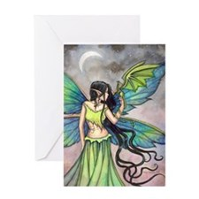Emerald Dragon and Fairy Fantasy Art Greeting Card