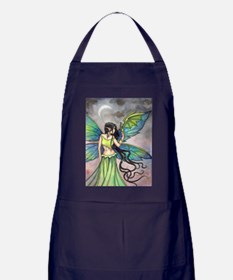 Emerald Dragon and Fairy Fantasy Art Apron (dark)