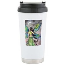 Emerald Dragon and Fairy Fantasy Art Travel Mug