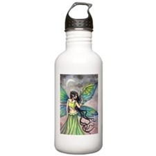 Emerald Dragon and Fairy Fantasy Art Water Bottle