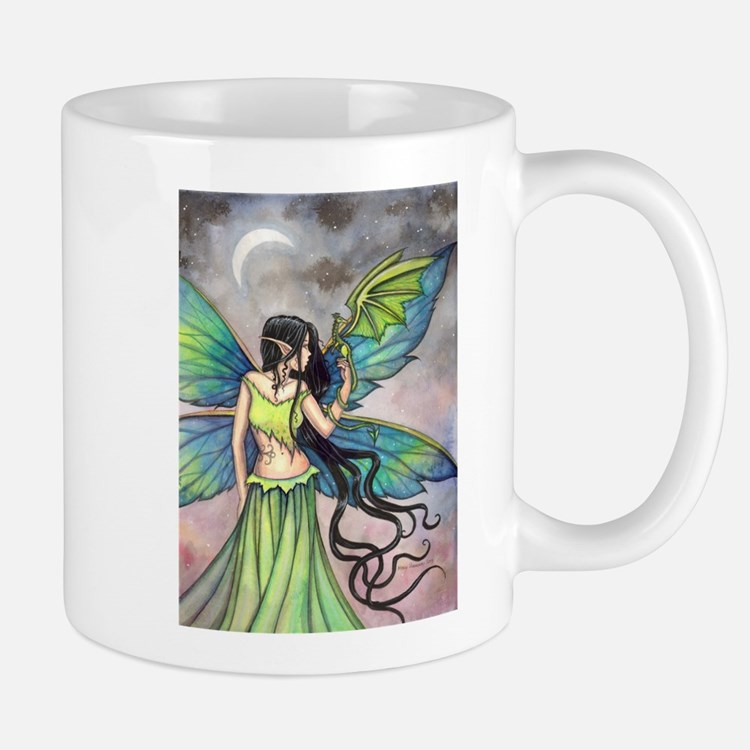 Emerald Dragon and Fairy Fantasy Art Mugs