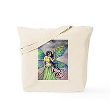 Emerald Dragon and Fairy Fantasy Art Tote Bag
