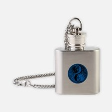 Blue and Black Yin Yang Kittens Flask Necklace