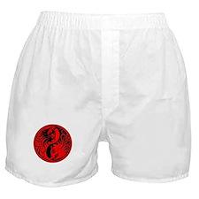 Red and Black Yin Yang Kittens Boxer Shorts