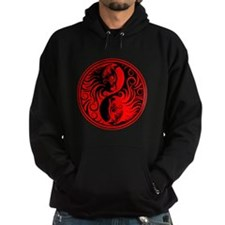Red and Black Yin Yang Kittens Hoodie