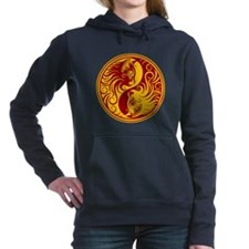 Yellow and Red Yin Yang Kittens Women's Hooded Swe