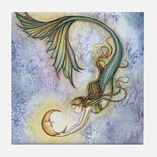 Deep Sea Moon Mermaid Fantasy Art Tile Coaster