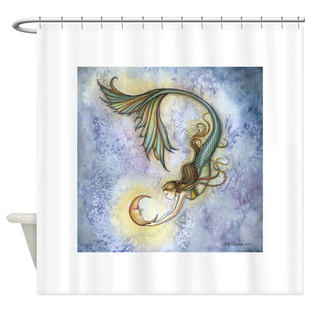 Deep sea moon mermaid fantasy art shower curtain by robmolily for Fantasy shower curtains