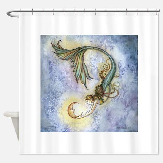 Deep Sea Moon Mermaid Fantasy Art Shower Curtain