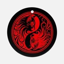 Red and Black Yin Yang Kittens Ornament (Round)