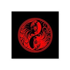 Red and Black Yin Yang Kittens Sticker