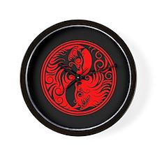 Red and Black Yin Yang Kittens Wall Clock