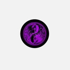 Purple and Black Yin Yang Kittens Mini Button