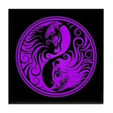 Purple and Black Yin Yang Kittens Tile Coaster