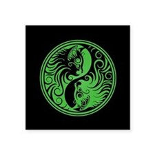 Green and Black Yin Yang Kittens Sticker