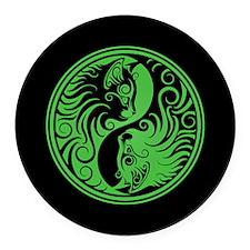 Green and Black Yin Yang Kittens Round Car Magnet