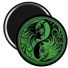 Green and Black Yin Yang Kittens Magnets
