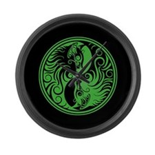 Green and Black Yin Yang Kittens Large Wall Clock