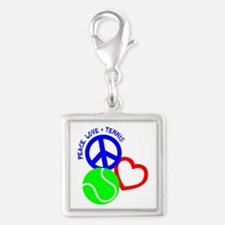 PEACE-LOVE-TENNIS Silver Square Charm