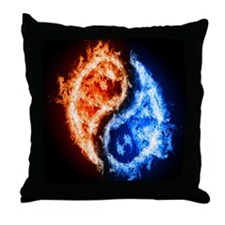 Fire And Water Yin Yang Throw Pillow