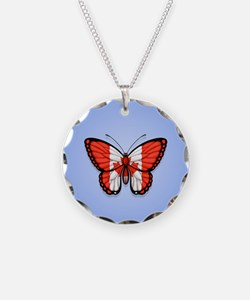 Canadian Flag Butterfly on Blue Necklace
