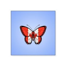 Canadian Flag Butterfly on Blue Sticker
