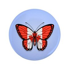 """Canadian Flag Butterfly on Blue 3.5"""" Button"""