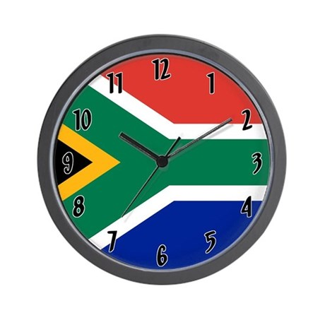 Flag of south africa wall clock by worldflagclocks for Modern wall clocks south africa