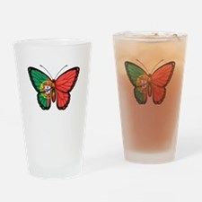 Portuguese Flag Butterfly Drinking Glass