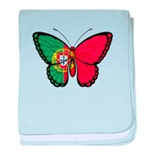 Portuguese Flag Butterfly baby blanket
