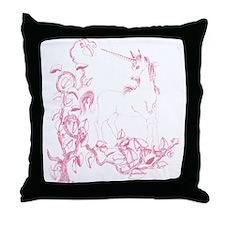 Rose Pink Unicorn & Vine Throw Pillow