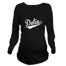 Delia, Retro, Long Sleeve Maternity T-Shirt