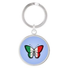 Italian Flag Butterfly on Blue Keychains