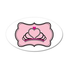Princess Queen Crown on Pink and Black Wall Decal
