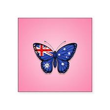 Australian Flag Butterfly on Pink Sticker