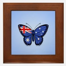 Australian Flag Butterfly on Blue Framed Tile
