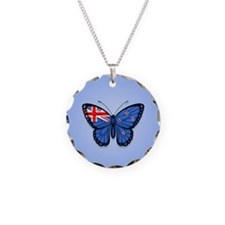 New Zealand Flag Butterfly on Blue Necklace Circle