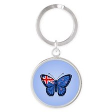 New Zealand Flag Butterfly on Blue Keychains