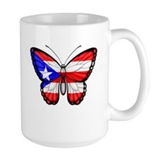 Puerto Rican Flag Butterfly Mugs