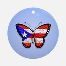 Puerto Rican Flag Butterfly on Blue Ornament (Roun