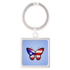 Puerto Rican Flag Butterfly on Blue Keychains