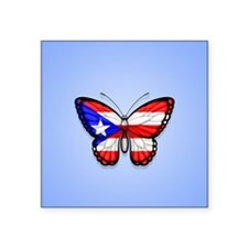 Puerto Rican Flag Butterfly on Blue Sticker
