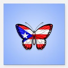 Puerto Rican Flag Butterfly on Blue Square Car Mag